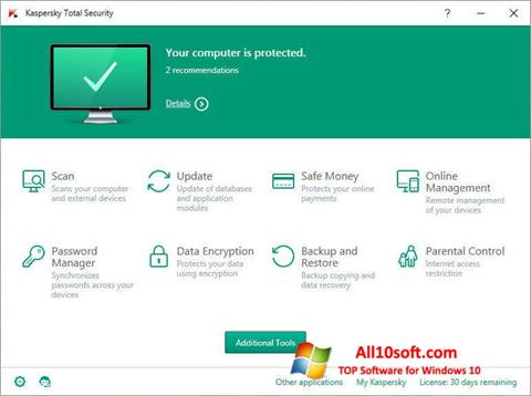 Ekran görüntüsü Kaspersky Total Security Windows 10