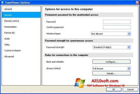 Ekran görüntüsü TeamViewer Windows 10