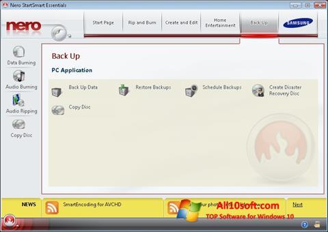 Ekran görüntüsü Nero Windows 10