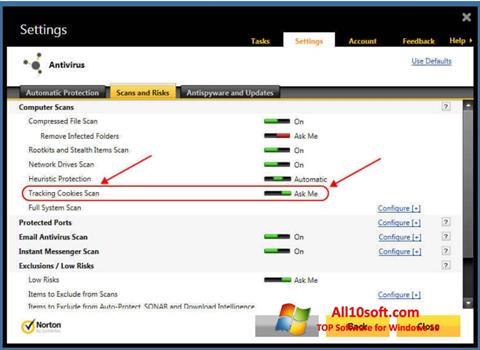 Ekran görüntüsü Norton Windows 10