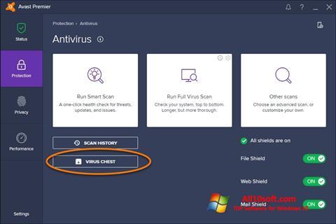 Ekran görüntüsü Avast Windows 10