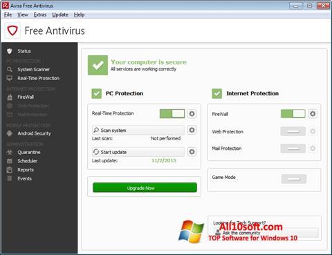 Ekran görüntüsü Avira Free Antivirus Windows 10