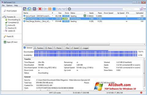 Ekran görüntüsü BitTorrent Windows 10