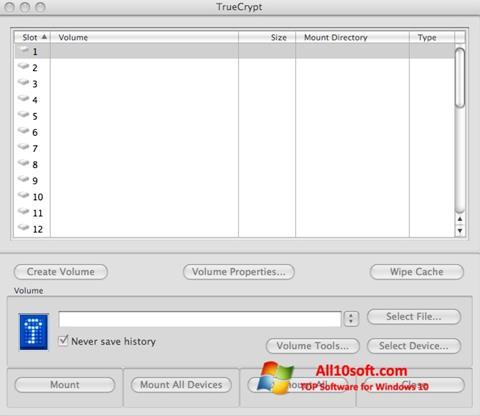 Ekran görüntüsü TrueCrypt Windows 10