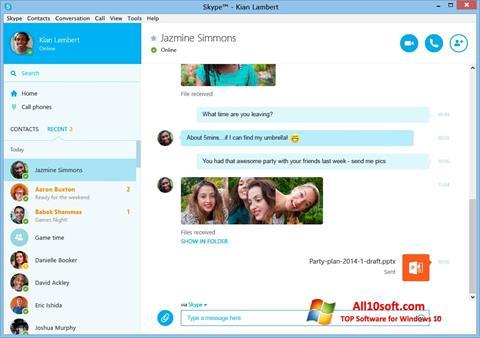 Ekran görüntüsü Skype Windows 10